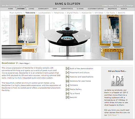 Bang & Olufsen Web site