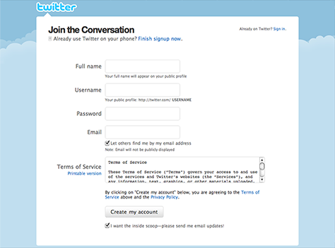 form signup twitter