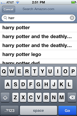 Amazon iPhone app's suggestions for the query Harry Potter