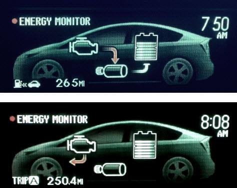 Energy Monitor Showing Which Parts Of The Hybrid System Are Curly In Use