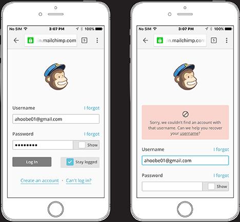 Рисунок 4 : страница логина сервиса mailChimp до и после сообщения об ошибках.