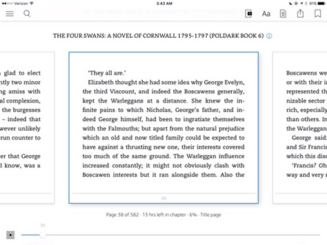 Kindle controls with book page zoomed out
