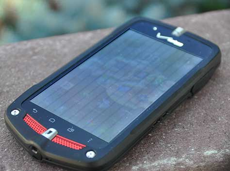 Vertical, capacitive touch sensors, visible in sunlight on a Casio mobile phone