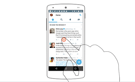 A user's finger completely obscuring a touch target in Twitter