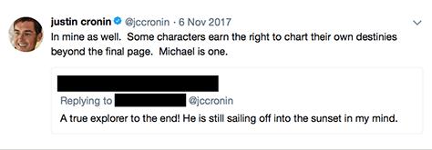 Author Justin Cronin's tweet