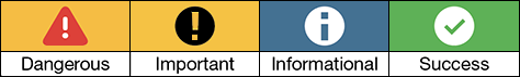 Some example symbols and their associated colors