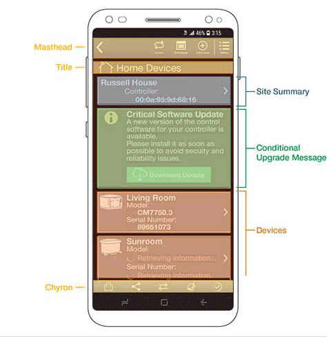 Box model overlaid on top of a mobile app's final design