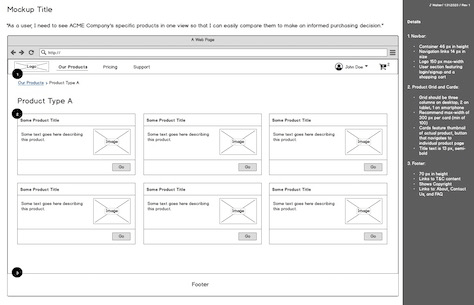 Example of a wireframe with less intrusive instructions